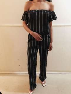 Black and White stripe Jumpsuit