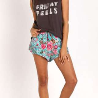 Spell Medium Turquoise Babushka Shorts