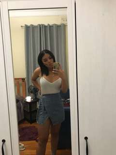 Denim wrap-around skirt