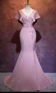 New Elegant Pink V Deep flower Banquet Dress