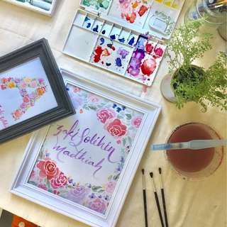 Watercolor Lettering Floral Wreath Frame