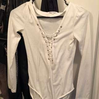 Lace Up White Bodysuit