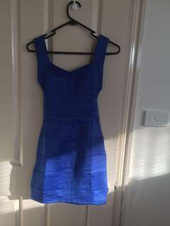 Blue backless bandeau dress