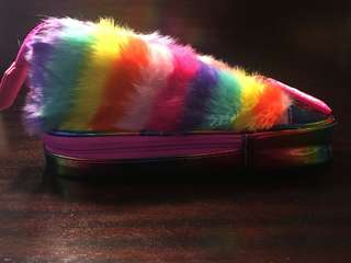 Smiggle sneaker pencil case with rainbow fur