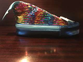 Smiggle sneaker case with rainbow sequins