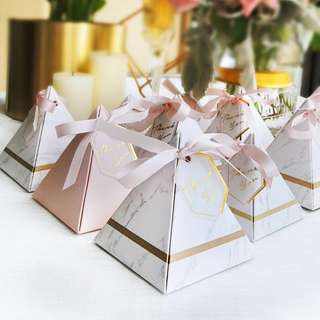 PO Marble Pink Pyramid Berkat Box Filled with Hershey