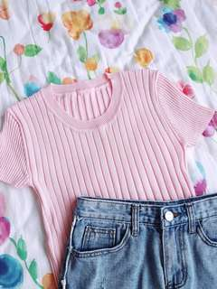 Weekend Basics Rounded Ribbed Top (Pink)