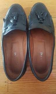 BELLINI Italian Leather Tassle Brogue Slip On Flat Shoes