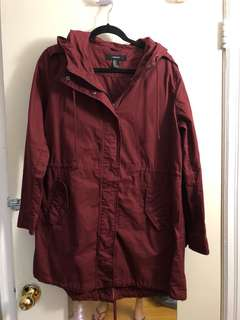 F21 Burgundy Coat Medium