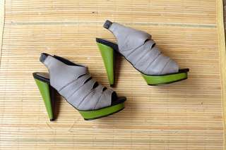 BELLE Grey & Green Heels