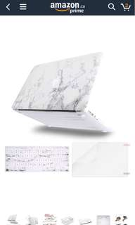 WHITE GREY MARBLE CASE MACBOOK AIR 11""
