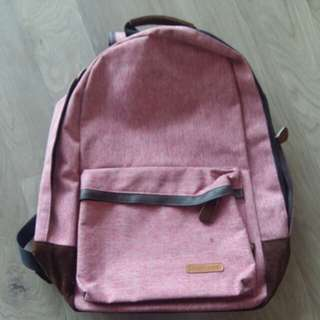 Red pink school bag