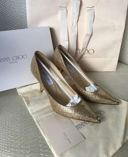 JIMMY CHOO SPARKLY GOLD HEELS