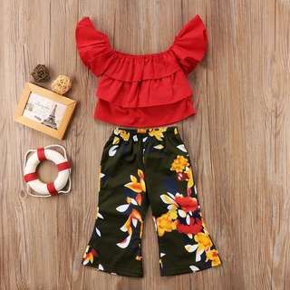 Instock - 2pc red floral set, baby infant toddler girl children cute glad 123456789 lalalala