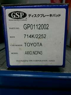 Toyota Axio, NCP43 Brake Pad