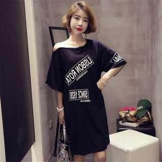 【F981】M-4XL@New short-sleeved loose thin long t-shirt skirt
