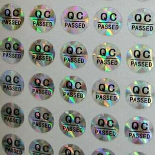 QC passed hologram stickers label shiny 0.8cm diameter 128pcs/sheet Diameter 8mm hologram QC PASSED labels,  Laser stickers , hologram stickers, waterproof,