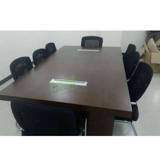 10 SEATER CONFERENCE TABLE WITH WIRE MANAGEMENT