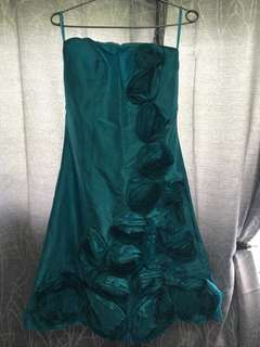Semi Form Cocktail Gown in Teal blue color