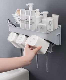 【貝莉潮流】🎉質感生活🎉牙刷置物架漱口杯套装免打孔刷牙杯架
