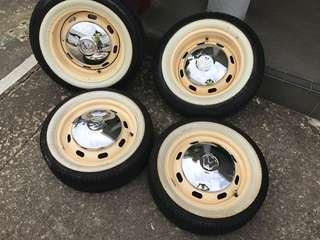 Vintage VW Beetle Wheels & Tyres - 4 stud