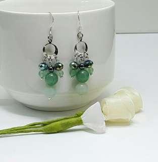 Natural Amazonite & Green Aventurine Dangling Earrings