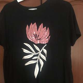 New without tag Floral print T-shirt from Zara