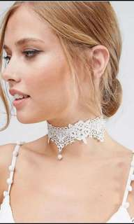 *New* Lace Choker Necklace with Pearl Pendent