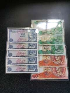Malaysia 7th 5pc Malaysia 2st Serier RM$1 Running number UNC  5 piece 📣📣📣offer price📣📣📣=$100