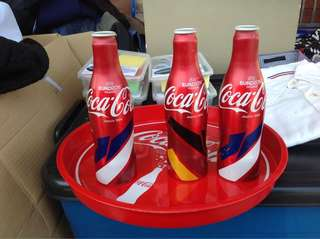 Coca Cola (3 can bottles & tray)