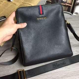Gucci men's leather crossbody sling bag