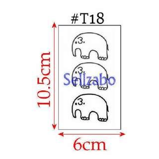 ★Black Elephants Fake Temporary Body Tattoos Stickers Sellzabo Colours #T18