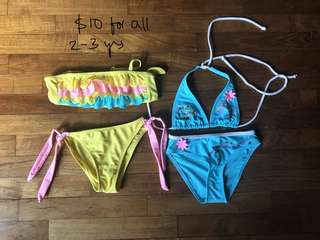 Bundle of 2 bikini sets for baby girl 2-3 years old