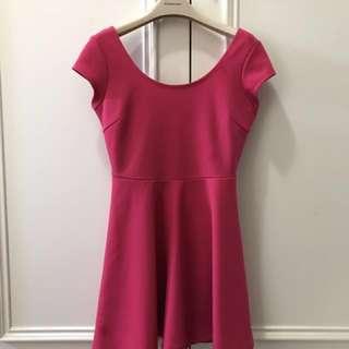 🚚 桃紅色傘狀小洋裝