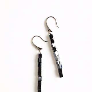 Jet Black Cube Earrings