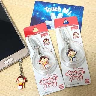 《日本直送》正版 不二家 牛奶妹 Peko 電話 Ipad 掛飾 防塵塞 紅色 藍色 兩款任選擇 swing plugy