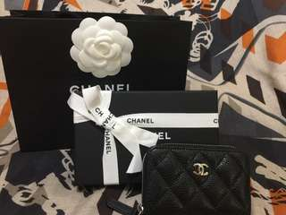 🚚 Chanel 荔枝 銀黑 拉鍊零錢包
