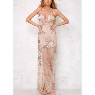 Mesh Sequin Strap Long Dress