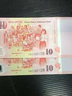 SG50 $10 UNC