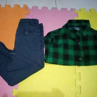 H&M Pants and Carters Longsleeve(3-4y/o)