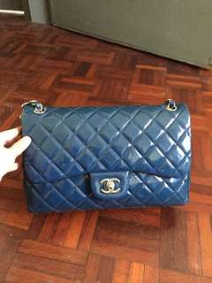 AUTHENTIC USED Chanel Jumbo Patent Blue Double Flap