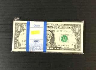 US Dollars $1 year-2009 100-running .
