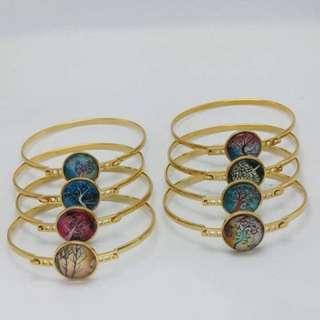 GLOW IN THE DARK Moon Bangle Bracelet (Gold)