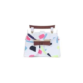 LIE - 撞色皮革手提包