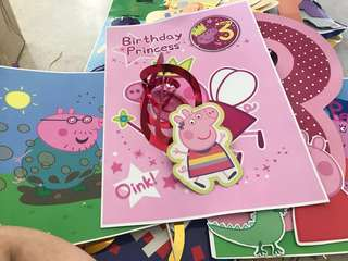 Peppa Pig party ..complete set ,2 banners ,swirls ,props,glasses,cake pops