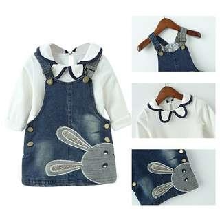 Fashion baby girl clothing set lace shirt + jeans dress