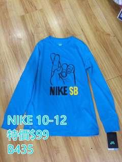 NIKE 男童10-14歲吸濕排汗 長袖 T恤 清貨價 $79/件 包郵
