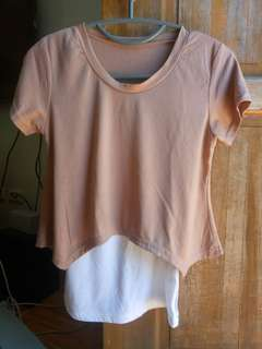 2in1 brown shirt + white tank top