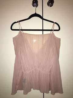 H&M reversible sheer pink top