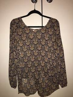 Boho sheer patterned top